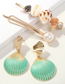 Fashion Green Alloy Pearl Conch Shell Stud Earrings Set Of 4