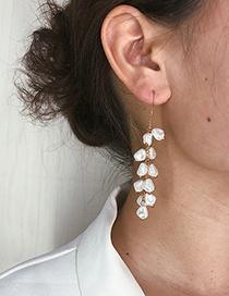 Fashion Gold Geometric Tassel Shaped Pearl Earrings