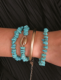 Fashion Blue Geometric Turquoise Shell Bend Bracelet Set