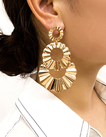 Fashion Gold Hollow Square Bump Pleat Round Stitching Stud Earrings