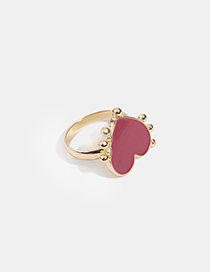 Fashion Purple Drop Oil Heart Alloy Ring