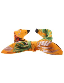 Fashion Yellow Fabric Printed Bow Headband