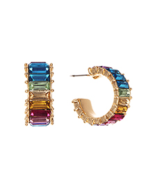 Fashion Color Alloy Diamond Wide Round Earrings Reviews