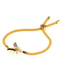 Fashion Yellow Pull Copper Plated Gold Animal Small Inlaid Diamond Bracelet