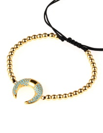 Fashion Gold Crescent-studded Copper-plated Beaded Bracelet