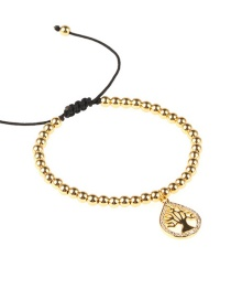 Fashion Gold Micro-encrusted Life Tree Copper Bead Woven Bracelet
