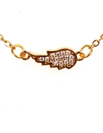 Fashion Gold Stainless Steel Wing And Diamond Necklace