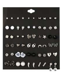 Fashion Silver + Black Alloy Acrylic Butterfly Pearl Love Set 30 Pairs