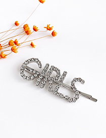 Fashion Silver Alloy Diamond Letters Girls Hairpin