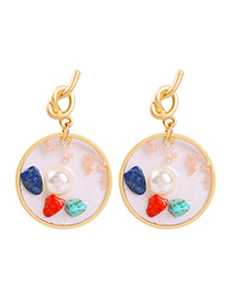 Fashion Golden Square Alloy Natural Stone Imitation Pearl Earrings