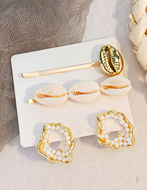 Fashion Gold Alloy Shell Pearl Hairpin Set