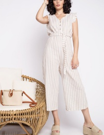 Fashion Coffee Color Striped Jumpsuit