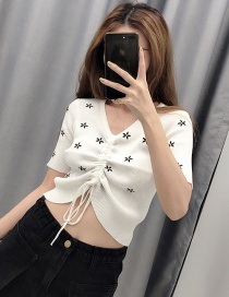Fashion White Embroidery Drawstring Ice Silk Sweater
