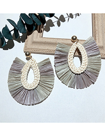 Fashion Color Grass Woven Earrings