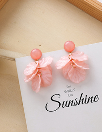 Fashion Pink Petal Fringed Multi-layer Earrings