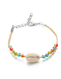 Fashion Color Braided Rope Beaded Anklet