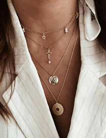 Fashion Gold Star Cross Pearl Love Hollow Disc Multilayer Necklace
