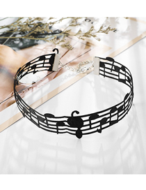 Fashion Black Musical Note Velvet Hollow Curve Necklace