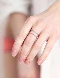 Fashion Steel Color Double-layer Open Stainless Steel Ring