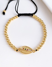 Fashion Gold Copper Inlaid Zircon Beads Shell Bracelet