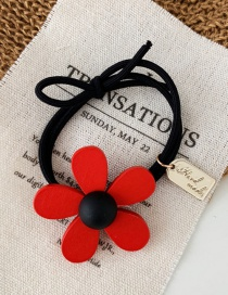 Fashion Red Flower Wooden Flower Hair Ring