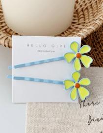 Fashion Blue Clip/single Contrast Flower Hair Clip