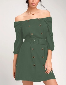 Fashion Dark Green Off-the-shoulder Cropped Sleeve Double-breasted Belt Dress