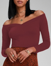 Fashion Red Wine Off-the-shoulder Big V-neck T-shirt