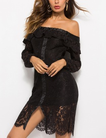 Fashion Black Lace Off-the-shoulder Cutout Ruffled Collar Dress