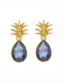 Fashion Blue Alloy Diamond Shaped Pineapple Shape Earrings