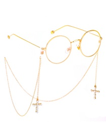 Fashion Gold Metal Color Retention Gold Pearl Cross Glasses Chain