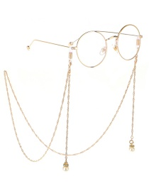 Fashion Gold Wings Hanging Chain Pearl Chain Double Buckle Glasses Chain