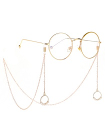 Fashion Gold Metal Round Pearl Glasses Chain