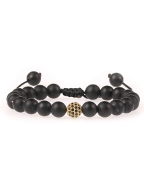 Fashion Black Diamond Beaded Matte Black Onyx Braided Adjustable Bracelet