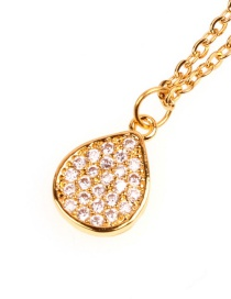 Fashion Water Droplets Copper Plated Gold Micro Diamond Necklace