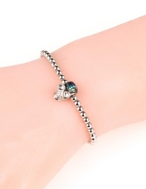 Fashion Silver Stainless Steel Zircon Skull Ghost Head Couple Steel Bead Bracelet