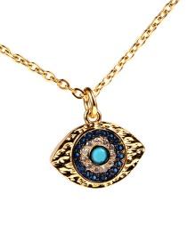 Fashion Gold Diamond Eye Necklace