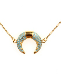 Fashion Gold Micro-drilled Crescent Gold-plated Stainless Steel Necklace