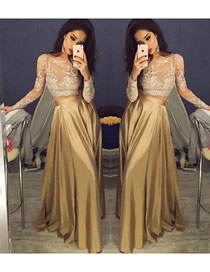 Fashion Champagne Lace-paneled High-waist Dress