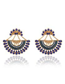 Fashion Royal Blue Beaded Diamond Cutout Earrings