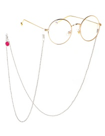 Fashion Silver Smiley Metal Glasses Mirror Chain Does Not Fade