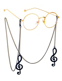 Fashion Black Hanging Neck Large Note Chain Glasses Chain