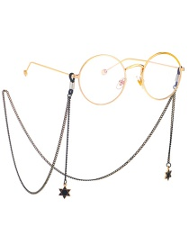 Fashion Black Hang Neck Six-pointed Star Chain Glasses Chain