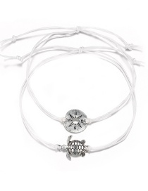 Fashion White Line Rope Hollow Compass Turtle Two-layer Anklet