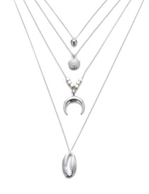 Fashion Silver Round Bead Shell Moon Multilayer Necklace