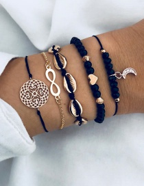 Fashion Brown Black Openwork Carved Shell Love Number 8 Moon Bracelet Five-piece