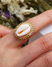Fashion Gold Alloy Inlaid Shell Open Ring