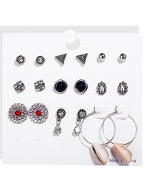 Fashion Silver Openwork Flower Inlaid Turquoise Shell Earrings 9 Pairs