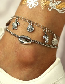 Fashion Silver Turtle Shell Anklet 2 Piece Set