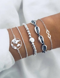 Fashion Silver Shell 8 Word Map Bead Chain Bracelet Five-piece